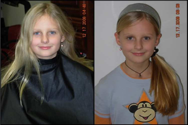 young girl with before and after hair cut and style