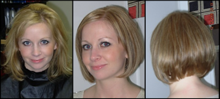 blonde woman with before and after haircut and style