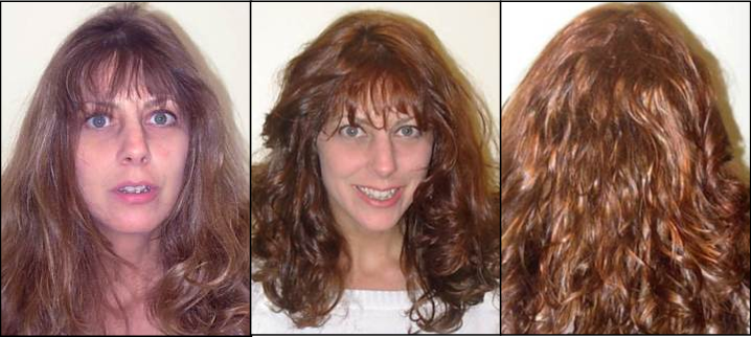 woman with long hair before and after hair cut and style