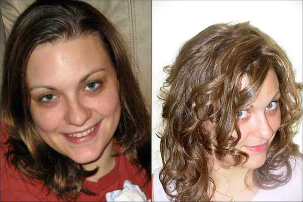 young woman before and after hair cut and style