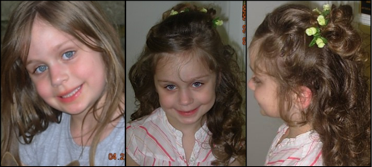 young girl before and after hair do for special occasion