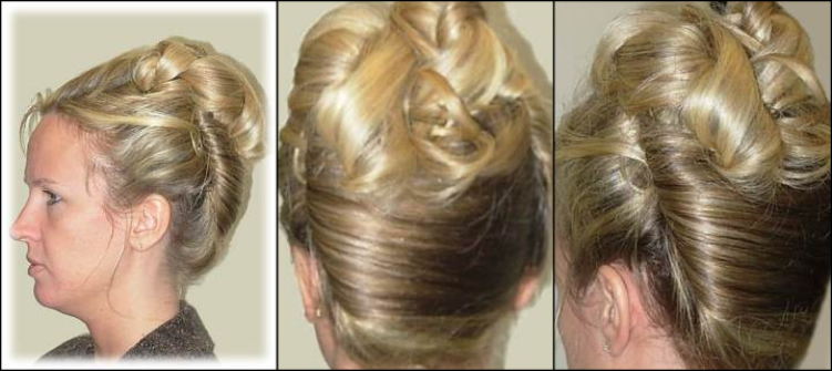 Blond woman with an updo side and back views