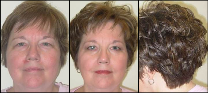 Woman with short hair before and after hair cut and style