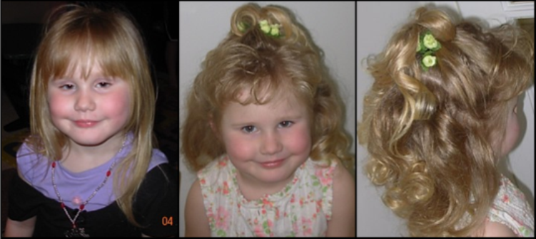 young blonde girl before and after hair style