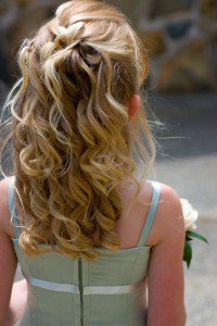 Girl with long hair at wedding